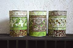 Nádoby - Dózy - zeleno hnedá varianta - 6066775_