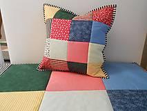 Úžitkový textil - patchwork vankúš kolor mix - 6076723_