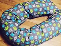Textil - Tehotenský vankúš / Vankúš na dojčenie sivý so strašidielkami - 6076781_