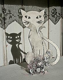 Dekorácie - Dekorácia Mačka biela 01 - 6073729_