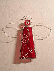 Dekorácie - anjel strážny červený s kvietkom - 6076322_