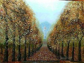 Obrazy - Jesenná cestička do kostola - 6073120_