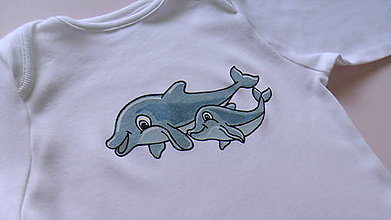 Detské oblečenie - Body na želanie - delfíny - 6074902_