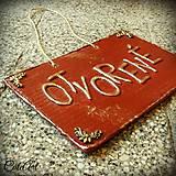 Otvorené/Zatvorené - tabuľka na dvere predajne