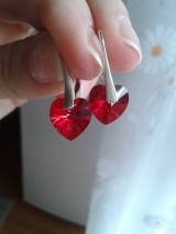 Náušnice - Swarovski Xilion Heart Light Siam v striebre - 6074126_