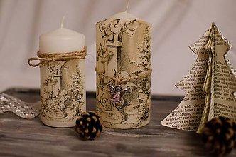 Svietidlá a sviečky - Vianočné Vintage sviečky - 6076226_