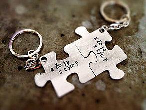 Kľúčenky - PUZZLE / 2mm hrúbka / cena za 2ks + 2x karicka - 6082491_