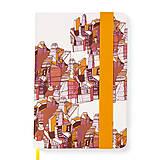Papiernictvo - Zápisník A5 Mesto (Zápisník A5 Mesto (oranžová gumička)) - 6080050_