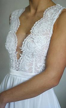 Šaty - Svadobné šaty s elastickým živôtikom a šifónovou sukňou - 6085603_