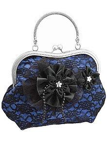 Kabelky - Spoločenská modrá čipková kabelka dámská 09801 - 6090827_
