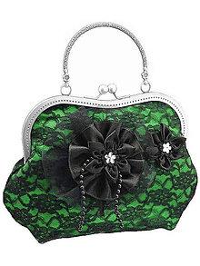 Kabelky - Spoločenská zelená čipková kabelka dámská 09801CS - 6090853_