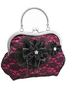 Kabelky - Spoločenská růžová čipková kabelka dámská 09801CS - 6090906_