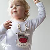 Detské oblečenie - body SOBÍK (dlhý/krátky rukáv) - 6090987_