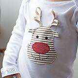 Detské oblečenie - body SOBÍK (dlhý/krátky rukáv) - 6090988_