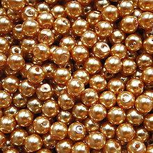 Korálky - GLANCE plast 4mm-zlatá-120ks - 6090839_