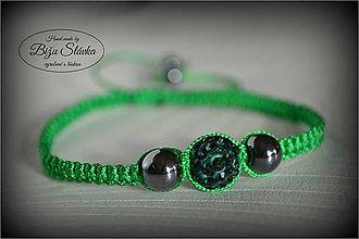 Náramky - Shambala náramok zelený (1841 A) - 6088578_