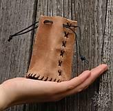 Peňaženky - Kožený mešec prírodný - 6090585_