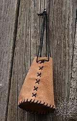 Peňaženky - Kožený mešec prírodný - 6090587_