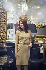 Šaty - Úpletové šaty béžovej farby - 6088887_