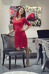 Šaty - Červené úpletové šaty s rásporkom - 6088991_