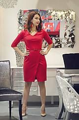 Šaty - Červené úpletové šaty s rásporkom - 6089253_