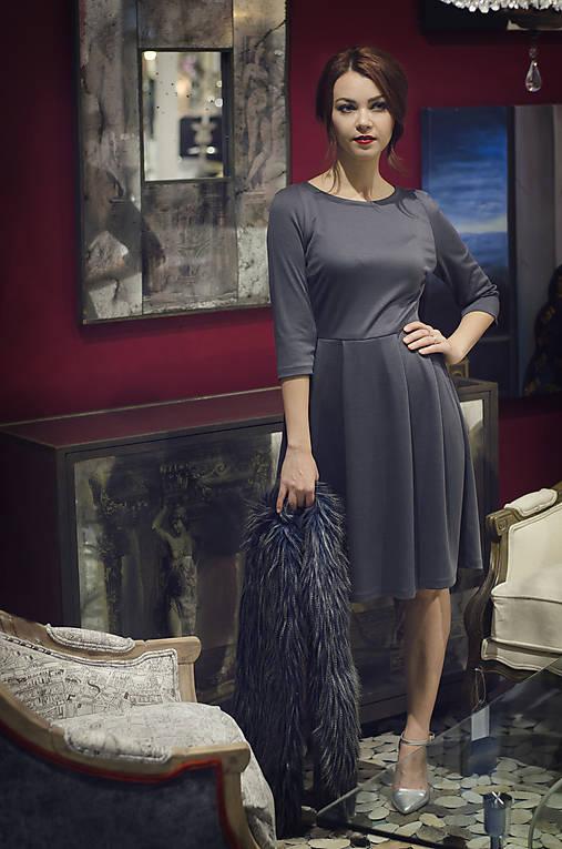 Šedé úpletové šaty midi dĺžky   MargiFashion - SAShE.sk - Handmade Šaty ffe1e49cb95