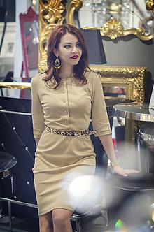 Šaty - Úpletové šaty béžovej farby - 6088875_