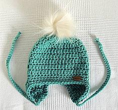 Detské čiapky - Mätová s kožušinovým brmbolcom - 6088067_