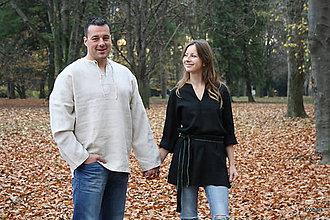 Oblečenie - Ľanová košuľka Svetislav prírodná - 6091832_