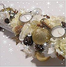 Svietidlá a sviečky - Adventný svietnik_MAXI_ Smotanovo zlaté Vianoce ... - 6094407_