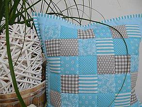 Úžitkový textil - patchwork vankúš 40x40cm tyrkysovo - šedý - 6096403_