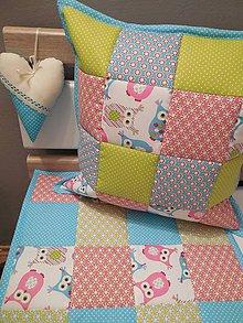 Textil - patchwork  vankúš - sovička - 6096492_