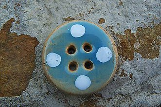 Materiál ručne robený - Gombíky modré s bielymi bodkami* - 6096843_