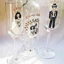 Nádoby - Ručne maľovaný svadobný set (poháre a fľaša) na želanie - 6091879_