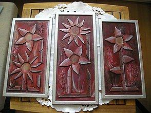 Obrazy - kvety z drievok - 6093358_