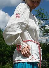 Košele - Košieľka ženská ľanová Ladomíra vyšívaná - 6094943_