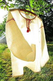 Oblečenie - Mužská ľanová košeľa Ľubomír I. s ručnou výšivkou - 6095077_