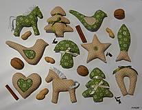 - Vianočné ozdôbky béžovo - zelené - 6091335_