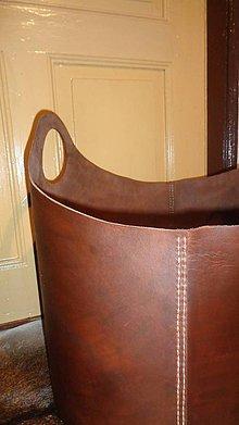 Dekorácie - Kôš na drevo - hovädzia koža - 6095369_