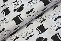 Úžitkový textil - Mustache black and white - posledná šanca - 6099036_