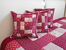 Úžitkový textil - patchwork vankúš 40x40cm bordovo červený - 6101255_
