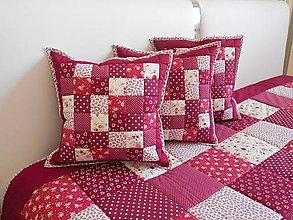Úžitkový textil - Prehoz, vankúš patchwork vzor bordovo-červený ( rôzne varianty veľkostí ) - 6101255_