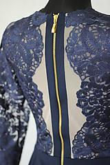 Šaty - Elastické šaty s kovovým zipsom v tmavej modrej a čiernej farbe - 6097958_