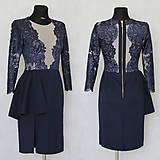 - Elastické šaty s kovovým zipsom v tmavej modrej a čiernej farbe ZĽAVA - 6097959_