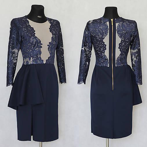 Elastické šaty s kovovým zipsom v tmavej modrej a čiernej farbe