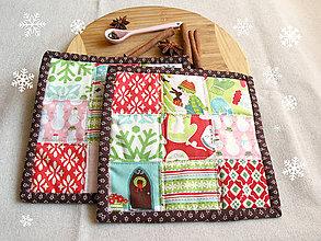 Úžitkový textil - Veselé vianočné chňapky - 6099707_