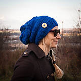 Čiapky - Modrá s gombíkom - 6105028_