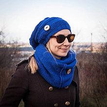 Čiapky - Modrý set s gombíkom ... čiapka + nákrčník - 6105133_
