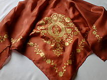 Šatky - Hodvábna šatka Zlatka - 6104342_
