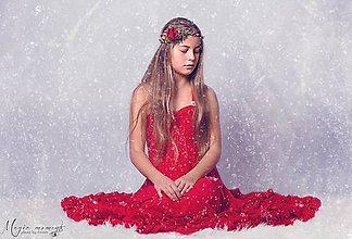 Ozdoby do vlasov - Vianočný venček v červenom. - 6105330_